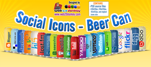 Social Icons on a Beer Can by web20donkey