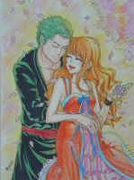 Sakura (Zoro Nami) by Cloudy by BelleLoveZoro