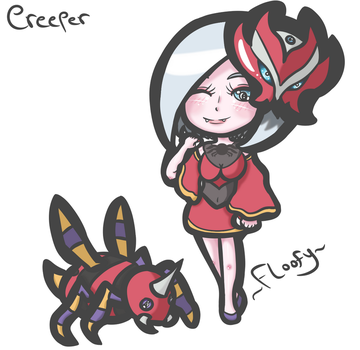 POKETrainer Elise and her Ariados (Commission) by FloofyFoxy