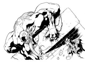 spidey vs venom inked by darnet