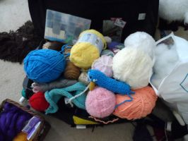 My Yarn Stash at the moment by YarnHoardingDragon
