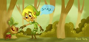 Link and a rebellious Deku by rickrd