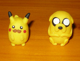 Moustache pikachu and Jake the Dog by hirokiro