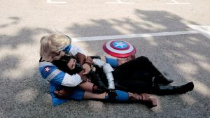 Captain America and Winter Soldier Female by Thara-Wood