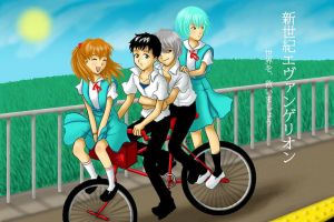 Evangelion: bicycle by rain-and-sunshine