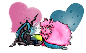 Queen Chrysalis and Fluffle puff by Inya-spring