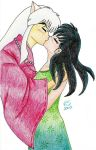 Inu Yasha and Kagome kiss by Damiane