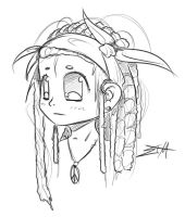 Dreadlocks Girl - SKETCH - by EVILMEL0N