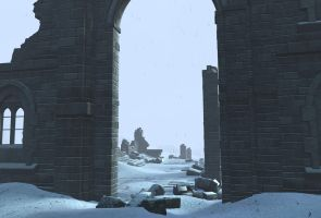 winter ruin background 3 by indigodeep