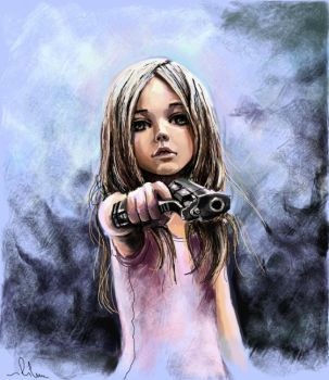 Girl ans gun by Rilun