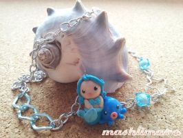 Little Mermaid with Octopus in Blue Necklace by mashlimaro