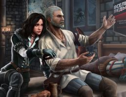 Geralt from Rivia and Yennefer from Vengerberg by Maxifen