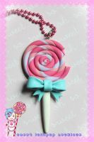Bitten Lollipop Necklace by CandyStripedCafe