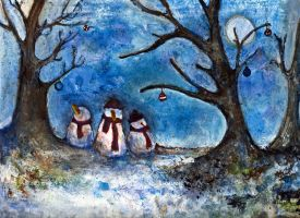 Three Snowmen by alicelevene