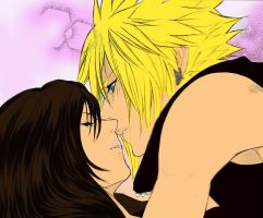 Cloud and Tifa - First Kiss by RenaRyuuguu
