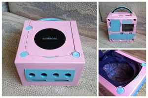 gamecube purse - 'anna' (pearly pink and white) by axecaliva
