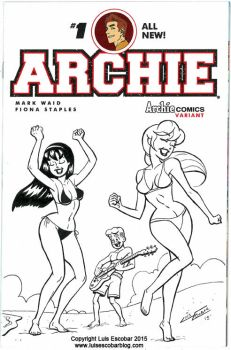 Archie,  Betty and Veronica at the beach by LuisEscobar