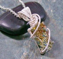 Modern Bismuth Crystal and Silver Pendant by HeatherJordanJewelry