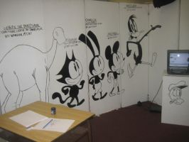 School Art Installation: Black and White Cartoons by NocturnalMeteor