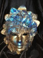 Blue and Gold Mask with Roses by ErikAngelofMusic