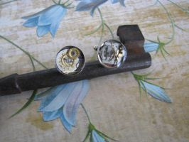 Steampunk Cuff Links with Vintage Watch Face by bcainspirations