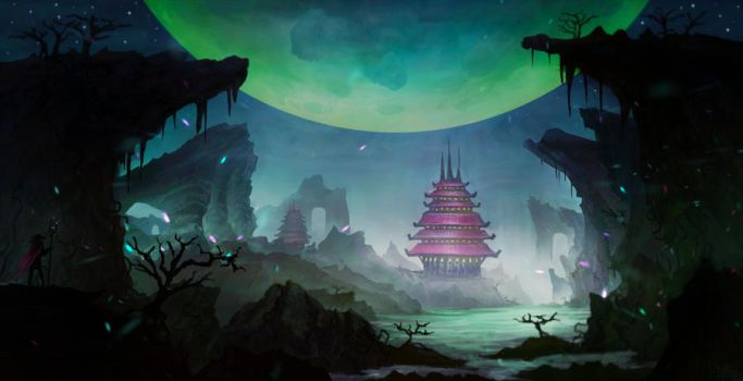 Fantasy Landscape 6 (time-lapse video) by iDaisan