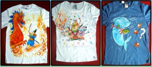 Hand-painted T-shirts: Dragon, Bugs Circus, Shark by Arferia