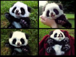 SOLD HAND MADE Poseable Baby Panda! by Wood-Splitter-Lee