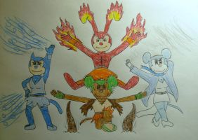 Micearth, Osflame, Mairy, and Icetensia by WildDancer101