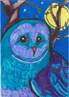 Strawberry Moon Owl ATC by AluminumSunset