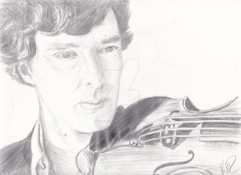 Sherlock and Violin by findingangel