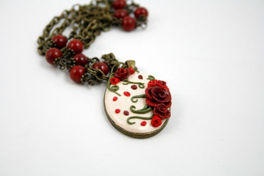 Antique style polymer rose necklace by ArtfulParadox