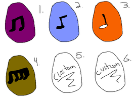 Egg Music Note Adoptables With Customs by thisisspartacat1230