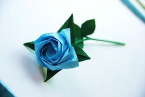 Pale Blue Origami Rose by lisadeng