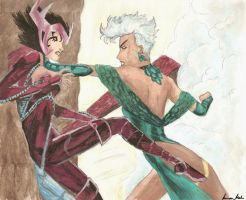 Deathbird and Storm fighting by Ywi