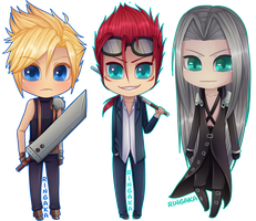 Final Fantasy Chibi Set [3/3] VII by RingaButt