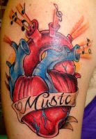 'Music' Anatomical Heart Tattoo by SuperSibataru