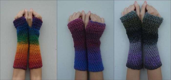 Rainbow Bisexual and Asexual Blend Armwarmers by RebelATS