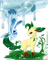 Leafeon and Glaceon by Effier-sxy