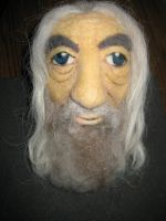 Needle Felted Gandalf - Facial, In Progress by CatsFeltLings