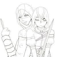 Request- Altair and Arietta LINEART by XxanimefreaknproudXx