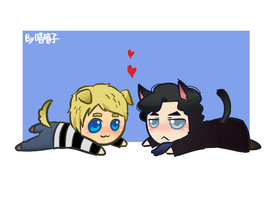 Sherlocat and Johnpuppy by aulauly7