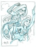 Ms. Marvel and Supergirl by tombancroft