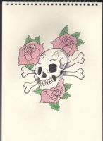 Skull and Crossed bones with Roses by Stephen-Parry
