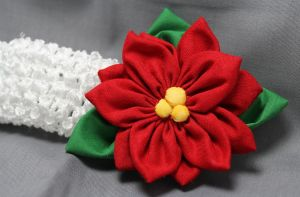 Pointsetta Fabric Flower Hair Band by jenlucreations