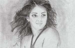 Mythili drawing by manulal