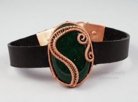 Leather Bracelet with Stone and Wirework Focal by sylva