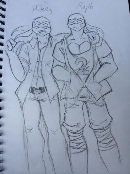 Mikey and Raph TMNT AU skech by Samantha484