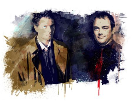 Cas and Crowley by beanzomatic