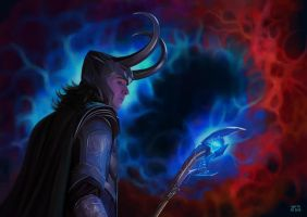 Loki and his Glow Stick of Destiny by slugette